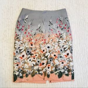 [Talbots] HummingBird Floral Flower Pencil Skirt